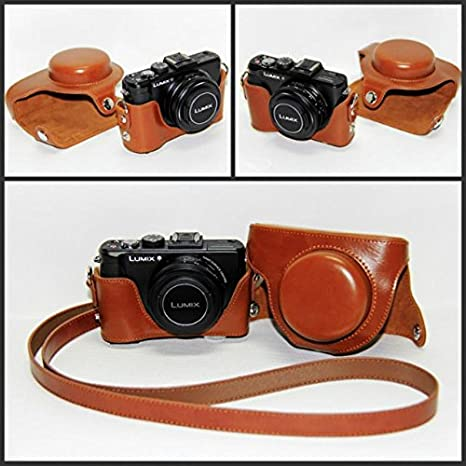 Handmade Genuine real Leather Full Camera Case bag cover for Panasonic LX7 Brown Color