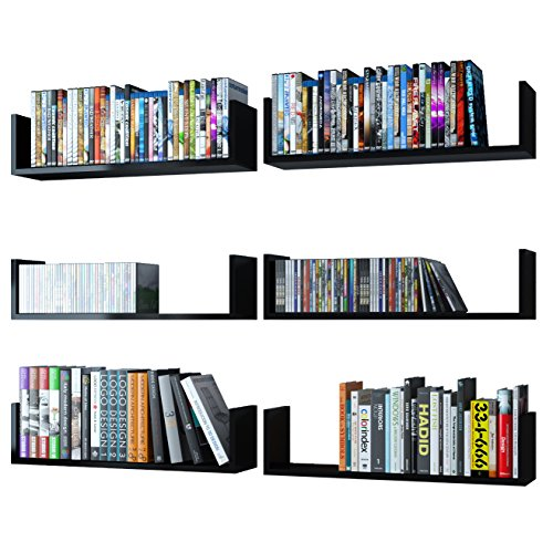 Wallniture U Shape Wall Mount Floating Wood Book Shelves - P