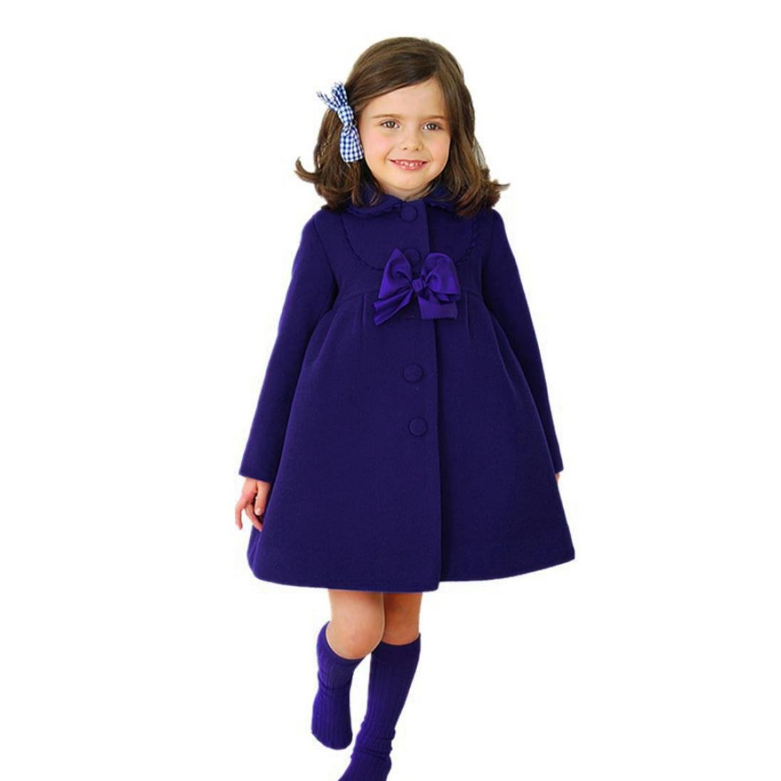 ChainSee Kids Baby Girls Autumn Winter Bow Cloak Jacket Thick Warm Overcoat Blue)