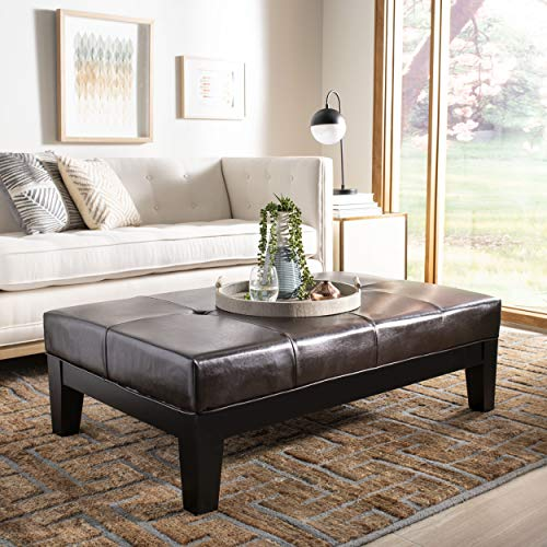 (Safavieh Hudson Collection Liam Leather Cocktail Ottoman, Brown)