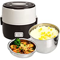 Electric Lunch Box, Janolia Portable Food Lunch Heater, Rice Steamer Cooker, 2 Layers, Stainless Steel