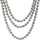 HinsonGayle AAA Handpicked 10-11mm Iridescent Silver Gray Baroque Freshwater Cultured Pearl Rope-65 in length
