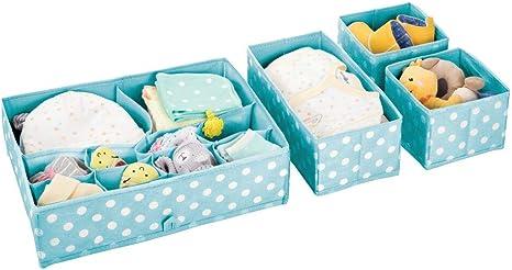 Set of 4 Light Blue//White mDesign Soft Fabric Polka Dot Dresser Drawer and Closet Storage Organizer Bin for Child//Kids Room Divided 5 Section Tray Nursery Playroom