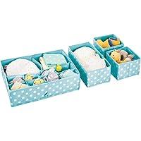 mDesign - Lade-organizer in 4-delige set - opbergmanden - voor de babykamer - voor lades, bergkasten of kaptafelbladen - stof - Turkooisblauw/wit