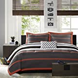Mi-Zone Ashton King/Cal King Kids Bedding Sets for Boys - Orange, Grey, Stripes – 4 Pieces Boy Comforter Set – Ultra Soft Microfiber Kid Childrens Bedroom Comforters