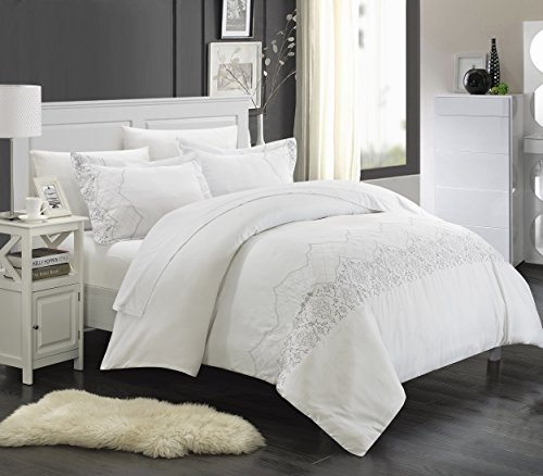 (Chic Home 7 Piece Sophia Embroidered Bridal Collection Duvet Set, Queen, White with White Sheet Set)