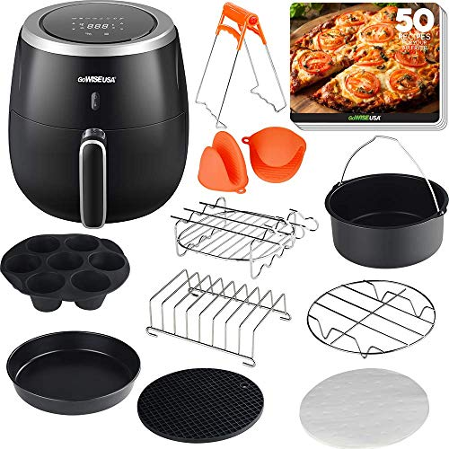 GoWISE USA 5.3-Quarts Digital Air Fryer with 10 Piece Accessory Set, Oven, 8 Cooking Presets, 60 Minute Timer, LED Touchscreen + 50 Recipes
