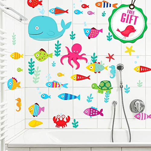 Ocean Fish Wall Decals - Sea Whale Turtle Tropical Creatures Bathroom Stickers [>50 Art Decals] with Free Gift!