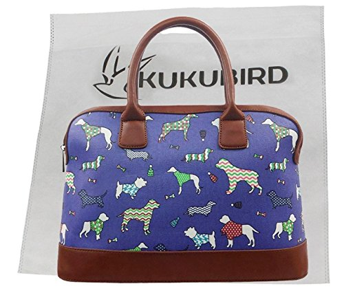 Satchel Poodle Bowling Canvas Cat Floral Bag Matte Cats Bird Beige Dog Print Various Kukubird Butterfly Dachshund vE7Pqxw