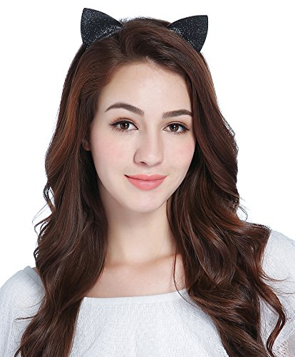 (CAKYE Glitter Cat Ear Headband Party Hair Band Gift (One Size, Black (Cat)