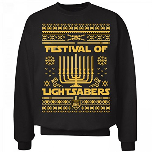 Hanukkah Ugly Lightsabers: Unisex Hanes Ultimate Crewneck Sweatshirt - The Ultimate Lightsaber