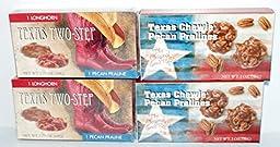Texas Two-step Longhorn Chocolate & Chewie Pecan Pralines - 4 Pack Bundled!