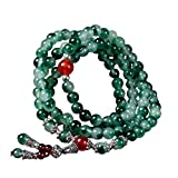 Handmade 6mm 110Pcs Natural jade beads bracelet personality original hand string emerald Bracelet male and female models (Green)