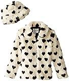 Widgeon Big Girls' Faux Fur Heart Print Coat, Black/White Heart, 10