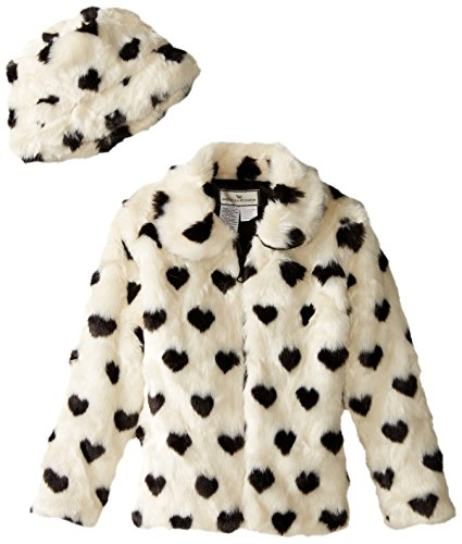 Widgeon Big Girls' Faux Fur Heart Print Coat, Black/White Heart, 10 by Widgeon