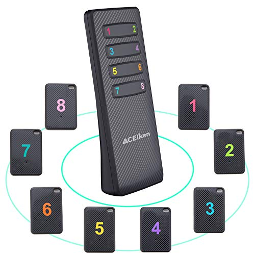 Key and Wallet Finder Locator, 8 Receivers and 1 RF Transmitter, Easy to Use, Loud Enough, ACEIken Wireless RF Keychain Remote Wallet Phone Tracker, Support Remote Control (Remote Control Locator)