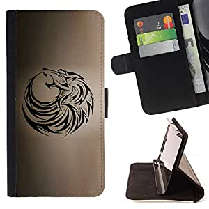 For LG G Stylo / LG LS770 / LG G4 Stylus Wolf Tribal Tattoo Ink Black Brown Hound Style PU Leather Case Wallet Flip Stand Flap Closure Cover