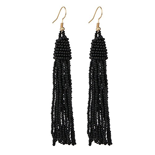 gs Long Bead Fringe Ear Drops Stud Disc Bead Ball Dangle for Women Girls (Black Bead Drop Earrings)