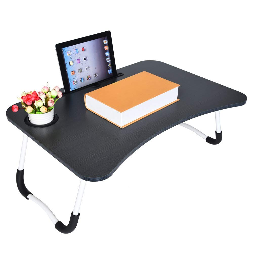 Gallity Laptop Desk,Laptop Bed Tray Table Large Foldable Laptop Notebook Stand Desk with Pad Slot and Cup Holder,Round Edge Lap desk Game Table Bed Sofa Party Computer Play Table(Shipped by US)
