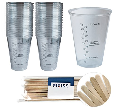50x 10-Ounce Disposable Graduated Clear Plastic Cups for Mixing Paint, Stain, Epoxy, Resin and 20x Pixiss Stix Mixing Sticks