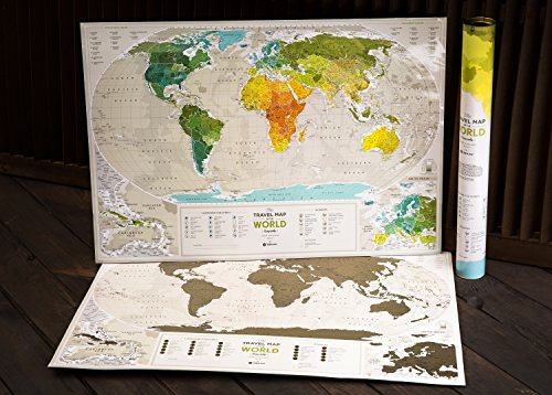 Detailed Scratch Off Map Premium Edition - 88 x 60 cm - Large Places I've Been Holiday World Map - Great Scratchable World Map Gift - Laminated Paper Map - You Can Mark 10 000 Cities And Places (Large Detailed World Map Poster compare prices)
