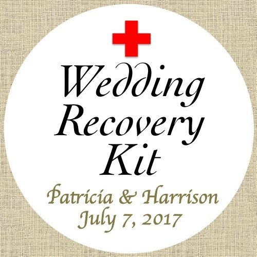 40 stickers 2 round personalized wedding recovery kit custom labels party favors choice of