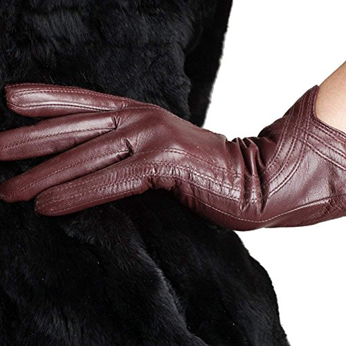 (Lambskin Leather Lining Women Gloves Winter Handmade Curve Leather)
