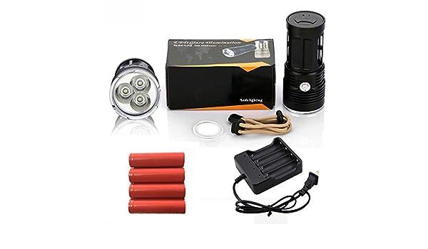 4, Negro : Zk30 linterna mi-5 10000 lúmenes campamento Caza antorcha 5x cree xm-l T6 Lanterna táctica adecuada 4x18650 - - Amazon.com