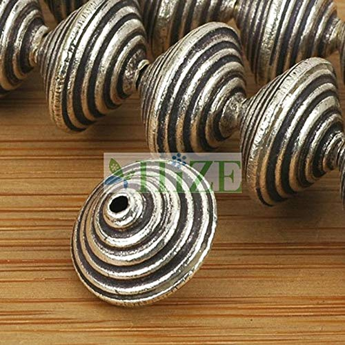 World's Natural Treasures - HIZE SB654 Thai Karen Hill Tribe Silver Corrugated Bicone Disc Saucer Beads 13mm (4) - Huge Selection of Beading Accessories