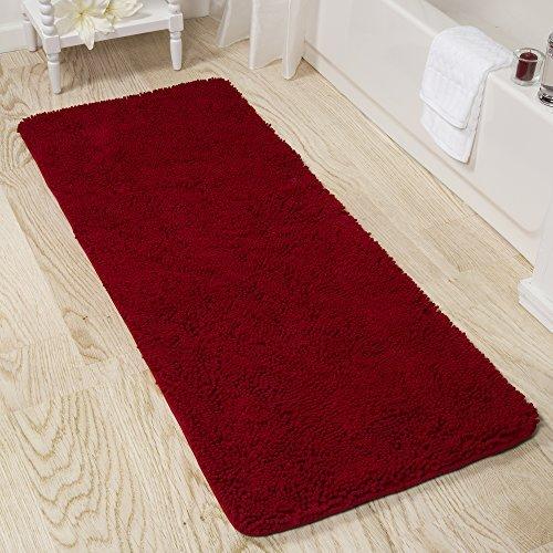 Lavish Home Memory Foam Shag Bath Mat 2-Feet by 5-Feet -Burgundy