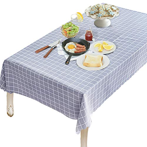 OUWIN 100% Waterproof Rectangle Tablecloth Spill-Proof Wipeable PVC Vinyl Table Cover Indoor Outdoor Picnic Table Cloth (54 x 84, Gray Checkered)