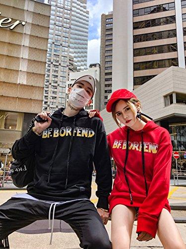 Felpa Streetwear Cappuccio A E Contrasto Con Pizoff Unisex black Al087 Stampa Scirtta Z1wSS