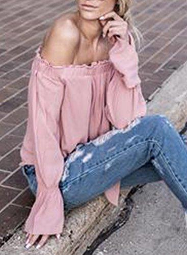 mujer Achicgirl hombro corbata De delantera gasa blusa rosa BTwTaq