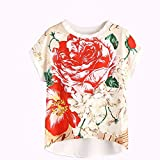 Blouse, Han Shi Women Fashion Sexy Casual Summer Floral Print Dip Blouse Ladies Girls O-Neck Short Sleeve Blouse Top Crop Vest Tank Cami Top Streetwear Camisole Outfit T-Shirt (L)