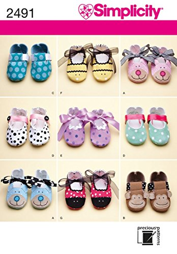 Simplicity Baby Shoes Sewing Pattern, Includes 7 Variations For Sizes XS-L