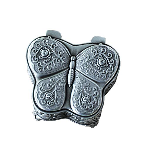 Classic Vintage Antique Butterfly Shape Jewelry Box Ring Small Trinket Jewellery Storage Organiser Silver