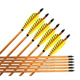 Best-selling Wooden Hunting/Targeting Arrows Fletching Streak Turkey Feather with Field Tips for Traditional Recurve Long Bow