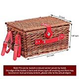 Wicker Picnic Basket Set for 4 Persons with Large