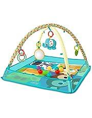 Bright Starts, More-in-One Ball Pit Fun, lekmatta med lekbåge och bollbad med justerbara sidoväggar, avtagbara leksaker och 10 bollar