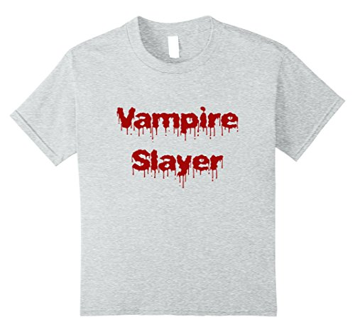 Kids Vampire Slayer T-shirt DIY Halloween Costume Funny Scary 10 Heather Grey