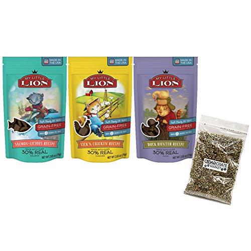 Catnip Treats Salmon - My Little Lion Bundle Grain Free Cat Treats 3 Flavor Bundle, (1) Each: Lick'N Chicken, Salmon-Licious, Duck Hunter - 2.65 Ounces - Catnip Bag