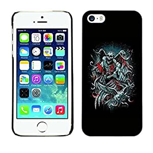 Colorful Printed Hard Protective Back Case Cover Shell Skin for Apple iPhone 5 / iPhone 5S ( Angel Death Black Throne King Devil )