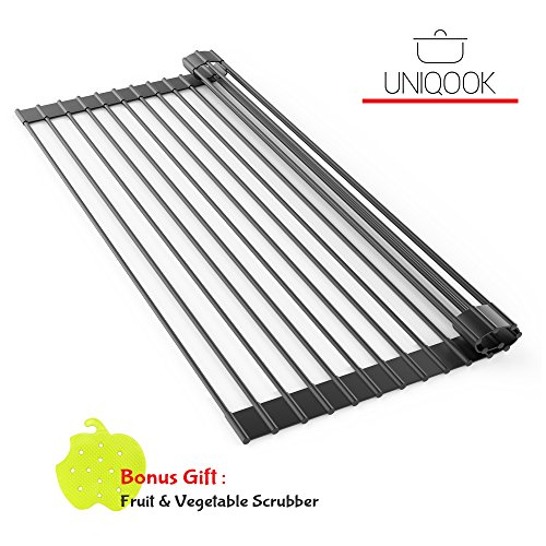 Roll Up Dish Drying Rack by Uniqook - Over the Kitchen Sink Large Silicone Stainless Steel Dishes Drainer, Drain Board Colander Mat and Dry Dishes Organizer, for Pans Bottles Bowls, Foldable Storage