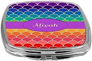 Rikki Knight Name on Rainbow Scallop Design Compact Mirror, Aliyah, 17 Ounce