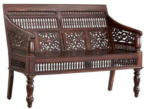 Maharaja Hand-Carved Settee in Walnut