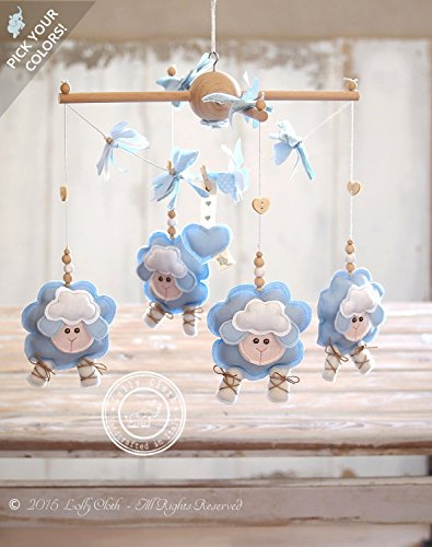 Baby Boy Gift Idea, Sheep Baby Mobile Hanging, 2-DAY FEDEX DELIVERY to USA, Canada, Europe & Others