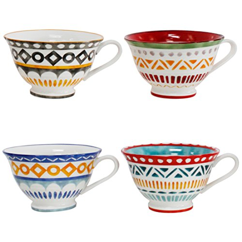 Euro Ceramica Amalfi Collection Porcelain Latte Mugs, Set of