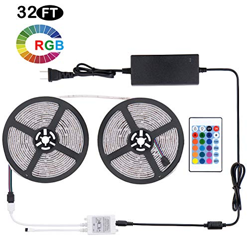 Led Light Strip Waterproof 32.8ft 10M SMD 5050 300leds, 24V DC Flexible Light Strips, LED Tape, RGB LED Strip Kit with 24key Remote Controller and Power Supply for Kitchen Bedroom Sitting Room Bar