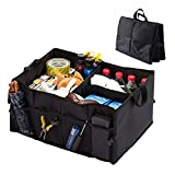 Car Boot Bag Car Organiser,Fengus Foldable Storage Bag with Waterproof Oxford Cloth Bottom for Vehicle, Picnic, Home and Shopping - Black