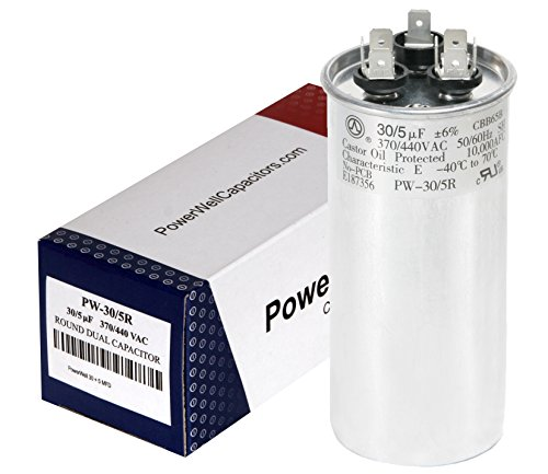 PowerWell 30 5 MFD uf 370 or 440 Volt Dual Run Round Capacitor PW-CAP-30/5/370-440R for Condenser Straight Cool or Heat Pump Air Conditioner (York Capacitor)